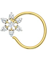 TBZ - The Original Floral 18k Yellow Gold And Diamond Nosepin - B01BD4MWAW