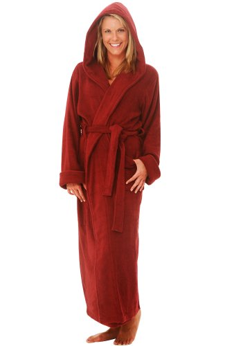 Women's Terry Cloth Cotton Hooded Full Length Bathrobe