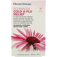 Higher Nature Echinacea Cold and Flu Relief - 30 x 176mg Capsules