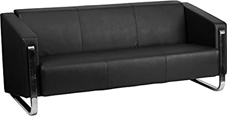 Flash Furniture Hercules Gallant Series Contemporary Leather Sofa with Stainless Steel Frame, Black
