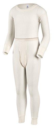 Indera Boys Traditional Thermal Underwear Shirt and Pant Set, Natural, Large