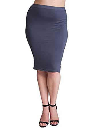 gray plus size banded stretch waist pencil skirt at