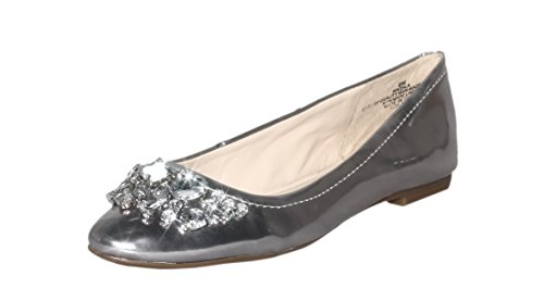 Nine West Womens Zala Silver Ballet Flat 6M