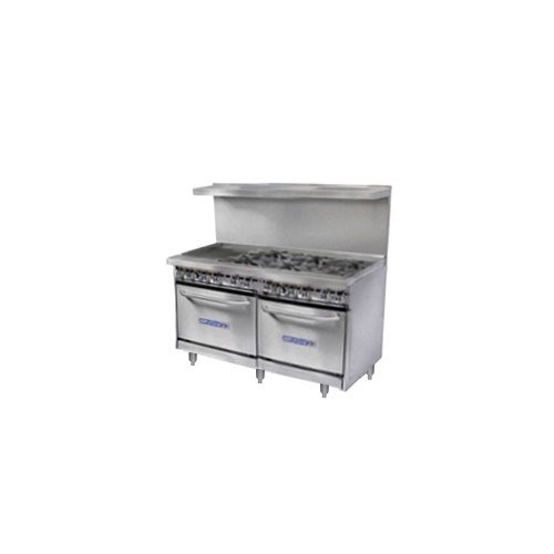 Natural Gas Bakers Pride Restaurant Series 48-BP-6B-G12-S20 6 Burner Gas Range with Two Space Saver