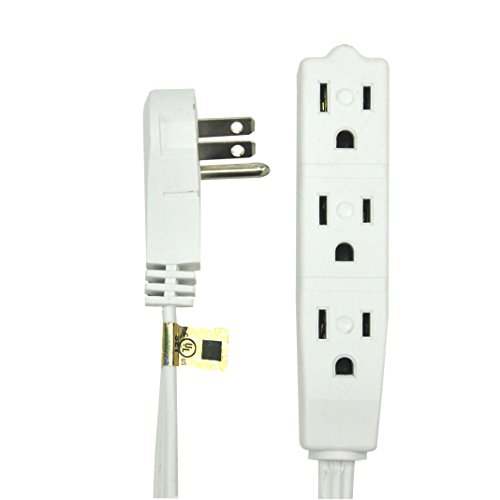BindMaster 15 Feet Extension Cord / Wire, 3 Prong Grounded, 3 outlets, Angeled Flat Plug , White (Extension Wire compare prices)