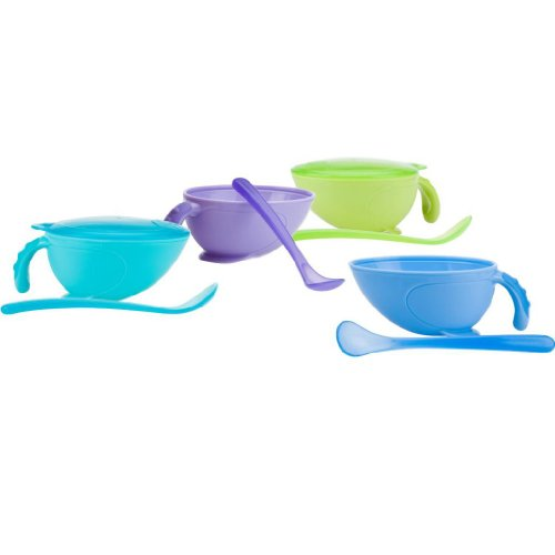 Nuby Non-Skid Comfort Grip Feeding Bowl with Handle, Lid and Spoon