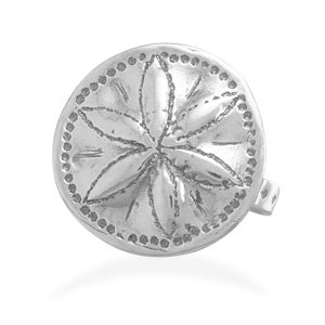 Sterling Silver Oxidized Sand Dollar Ring / Size 6