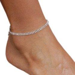 2 Row Anklet Bracelet Austrian Crystal Rhinestones