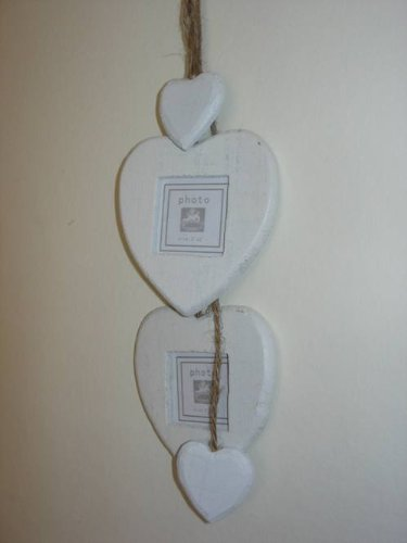 Gisela Graham Shabby Chic White Heart Photo Frames