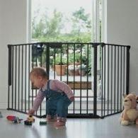 BabyDan - Barrera de seguridad, sistema modular y flexible, color negro