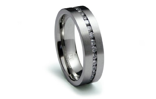 Stainless Steel Ring Satin Flat Center with CZ Eternity Band 6mm