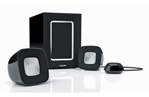 Philips SPA 2360 2.1 Multimedia Lautsprechersystem (44 Watt PMPO) silber/schwarz