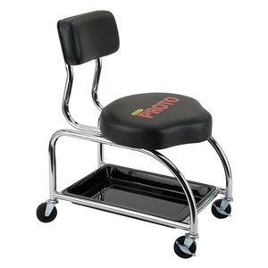 Tool Trolley Stool, With Backrest, 500 lb.