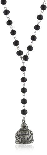 Ettika Silver Colored Buddha Wooden Black Rosary Necklace