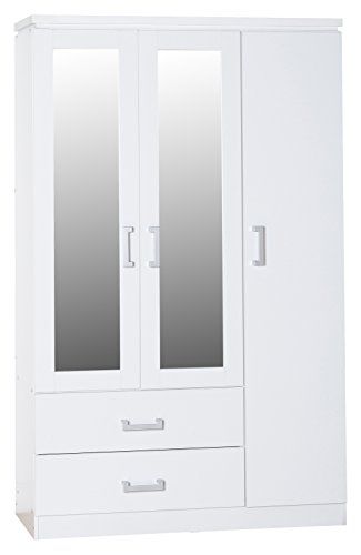 seconique-charles-3-door-2-drawer-mirrored-wardrobe-white