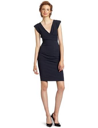 Nicole Miller Women's V-Neck Cap Sleeve Dress, Smoke, 0