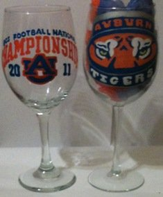 Auburn 2011 BCS Championship Hand Painted Wine Glass
