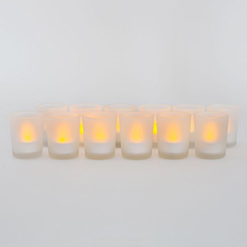 Set of 12 Warm White LED Flameless Tea Lights with Removable Glass Votive Holders, Batteries Included