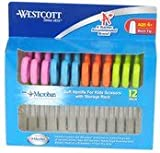 "Westcott Soft Handle Kids Scissors with Microban Protection, Assorted Colors, 5"" Blunt, 12 Pack (14873)"