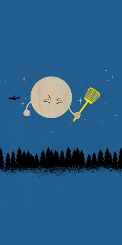 """""""Disturbing Fly"""" Funny Cartoon Moon W/ Flyswatter Aiming At Airplane - Plywood Wood Print Poster Wall Art front-558916"""