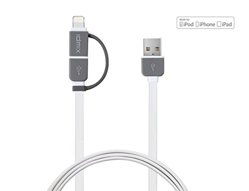 [Apple MFi Certified] Idmix Lightning to USB Cable, 3.28ft 2-in-1 Lightning Cable & Micro USB Cable, Sync Data & Charging Cord for iPhone 6 Plus 5S