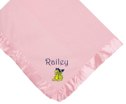 Dinosaur Baby Pink Fleece Embroidered Personalized Baby Blanket - Custom Embroidery Green Thread front-995903