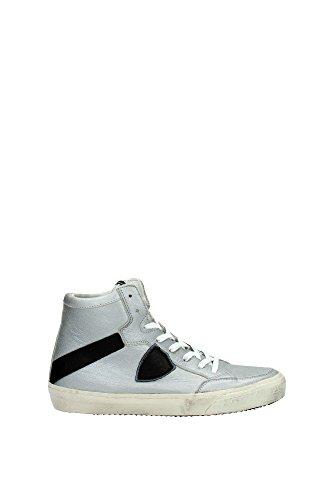 Sneakers Philippe Model Uomo Pelle Argento e Nero KNHUMC01 Argento 43EU