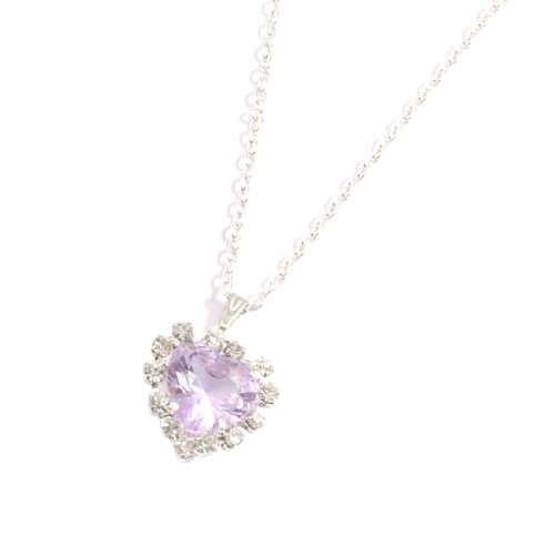 Rosallini Woman Plastic Light Purple Heart Shape Crystal Necklace Silver Tone