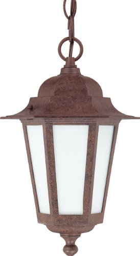 Nuvo Lighting 60/2208 Cornerstone Outdoor Hanging Lantern with Photocell, Frosted Glass, Old Bronze