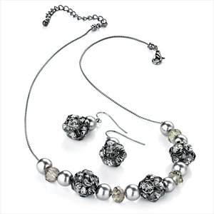 Ladies Marvellous Fashion Design Hematite & Black Diamond Colour Set Brand New