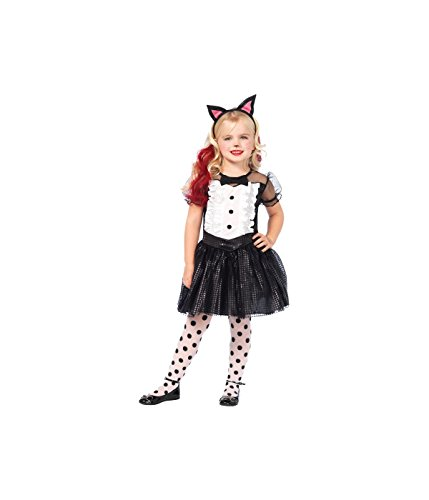 Little Girls' Kitty Cat Costume Animal Tuxedo Dress Black Tail and Ears
