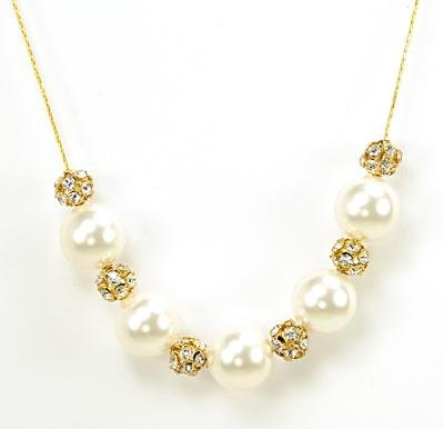 Swarovski Crystal and Pearl Necklace Made by Survivors (Solar Eclipse (Gold))
