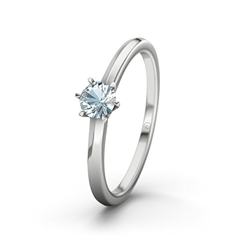 21DIAMONDS Córdoba Aquamarine Brilliant Cut Women's Ring-Silver Engagement Ring