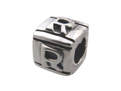 Zable(tm) Sterling Silver Block R-Letter Bead / Charm