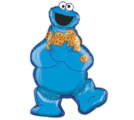 "Cookie Monster 31"" Birthday Mylar Shape Balloon Decorations Supplies Sesame Street"