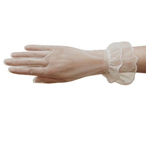 ZaZa Bridal Gorgeous Sheer Gloves with Double Ruffle Tricot Slip-on Wrist Length 2BL-Ivory