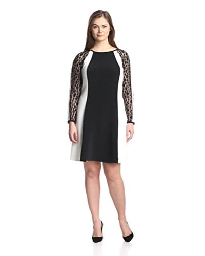 Julia Jordan Plus Women's Lace Colorblocked Dress  [Black/ivory]