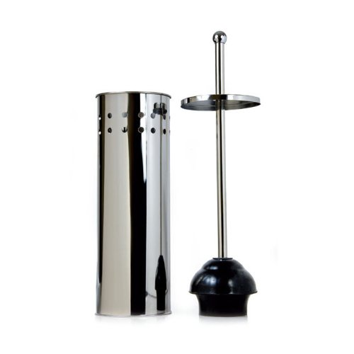 taymor stainless steel tall toilet bowl plunger with lid. Black Bedroom Furniture Sets. Home Design Ideas