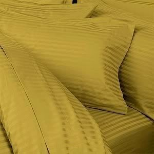 Italian 1000 Thread Count Egyptian Cotton Duvet Cover Set , California King, Gold Stripe, Premium Italian Finish