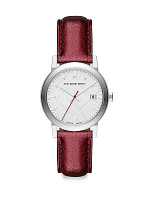 Burberry BU9123 Women's City Red Leather Strap Silver Dial Watch