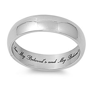 "Str-0022 6Mm 316L Stainless Steel ""I Am My Beloved'S And My Beloved Is Mine"" Design Fashion Ring; Comes With Free Gift Box (11)"