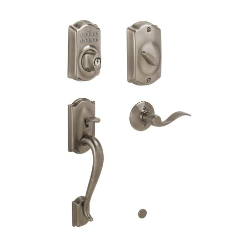 Schlage FE365 V CAM 620 ACC Camelot Keypad Deadbolt with Camelot Outer Grip and Accent Lever Interior, Antique Pewter