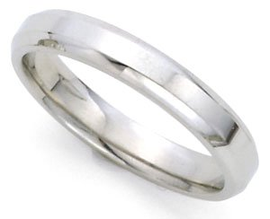 14k White Gold 3mm High Polished Beveled Edge Plain Wedding Band