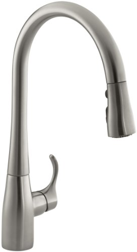 KOHLER K-596-VS Simplice Single-hole Pull-down Kitchen Faucet, Vibrant Stainless (K Faucets compare prices)