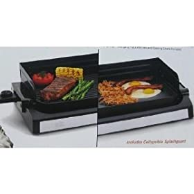 Wolfgang Puck 1800 Watt Reversible Nonstick Grill and Griddle with Collapsible Splashguard