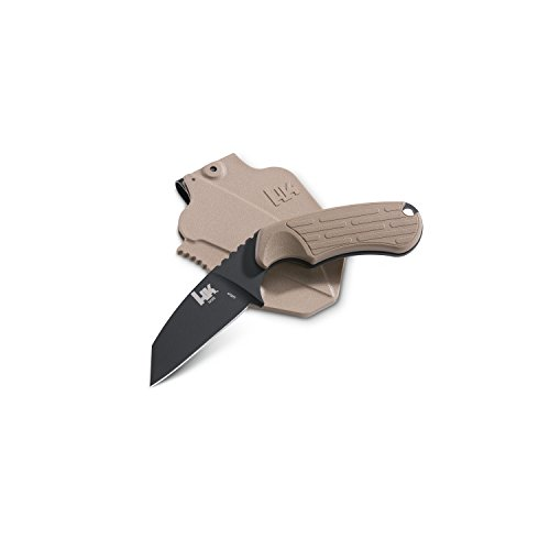 HK Knives 14125BK-1 Plan D Fixed Black Knife with Sand Handle, Tan