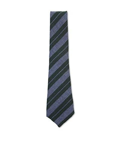 Kiton Men's Diagonal Striped Tie, Blue/Black