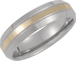 6 mm Titanium and 14k Yellow Gold Beveled Comfort Fit Band Size 8