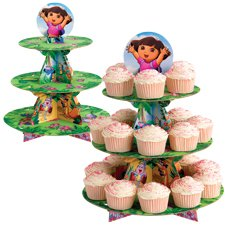 DORA THE EXPLORER Cake Cupcake Tree Stand Party Birthday Decoration Kit Cat Set