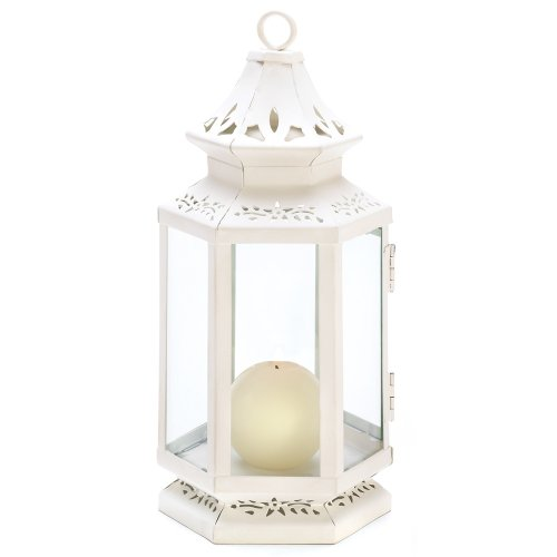 Gifts & Decor Medium Size Victorian White Candle Lantern Candleholder